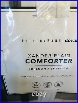 Pottery Barn Teen Xander Plaid Full Queen Comforter Shams Quilt White Gray Set