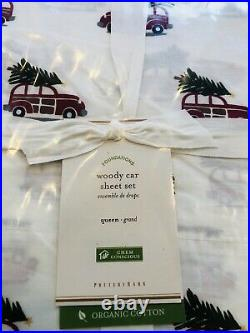 Pottery Barn Woody Queen Size Sheet Set Organic Cotton New Christmas Percale Car