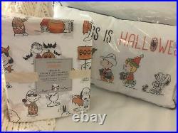 Pottery Barn kid PILLOW 12x20 + SHEET SET Twin Snoopy Peanuts HOLIDAY halloween