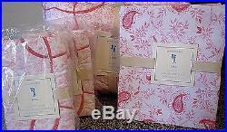 Pottery Barn kids lara full quilt 2 standard shams sheet set pink