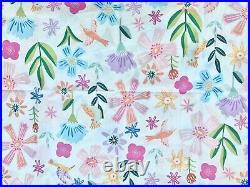 Pottery barn Kids Naomi Floral Organic Full Sheet Set Blue pink lavender green