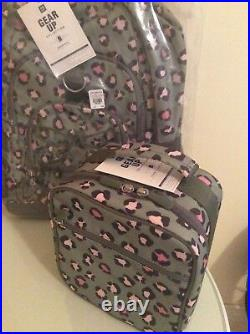 Pottery barn Leopard LARGE BACKPACK + LUNCH BOX bag school girl olive pink teen