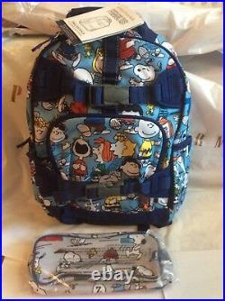 Pottery barn Peanuts SNOOPY BACKPACK+ ICE Bag Woodstock+PENCIL CASE school boy