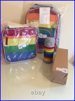 Pottery barn SET kid Stripe BACKPACK + LUNCH BOX + WATER BOTTLE rainbow school