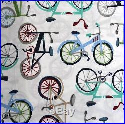 Pottery barn kids Bicycle Velo Duvet Cover 2 shams sheet set Full Navy Red 7pc
