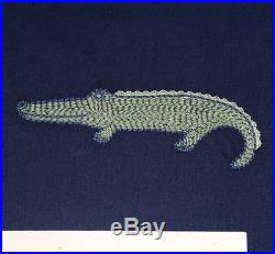 Pottery barn kids Gator Embroidered Duvet Jeremy sheet set twin navy green