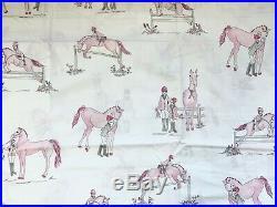 Pottery barn kids Laura Horse Sheet Set Full Pink Grey White