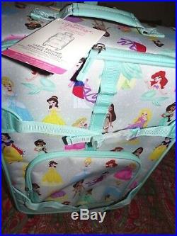 Pottery barn kids Mackenzie Aqua Disney Princess Spinner Luggage, LARGE, NEW