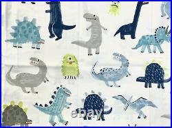 Pottery barn kids Organic Maverick Dino Sheet Set Full Blue Grey White