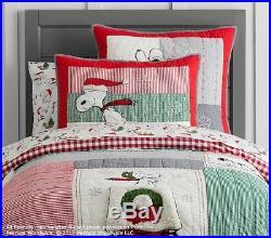 Pottery barn kids Peanuts Snoopy Holiday Twin Quilt, Sheet Set & pillowcase Xmas