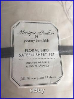 Pottery barn kids monique lhuillier floral bird sateen sheet set full size NEW