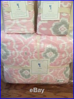 READ Pottery Barn Kids Claire Ikat Quilt 1 Standard Sham Set Pink FULL QUEEN