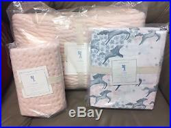 READ Pottery Barn Kids Clara Velvet twin quilt/Euro sham NO SHEET INCLUDED Pink