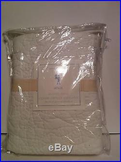 Set of 2 POTTERY BARN KIDS LESLIE Full / Queen QUILT 1 Standard Sham WHITE NWT