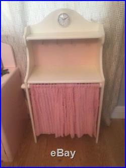 Used Pottery Barn Kids Retro Pink Kitchen Set 3 Pieces Sink Stove Fridge Pantry